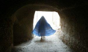 Burqa-clad Afghan woman