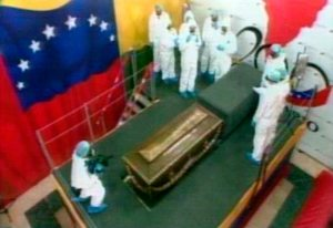 Bolivar's coffin exhumed