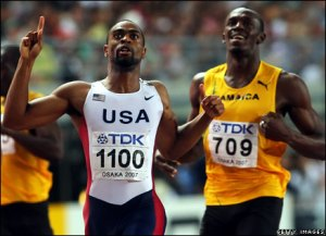 Tyson Gay beats Usain Bolt