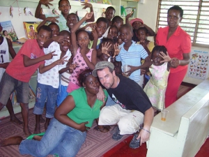 Children and volunteers at Trench Town Reading Centre
