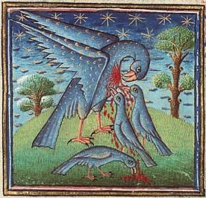 The pelican pecks her breast in a medieval painting