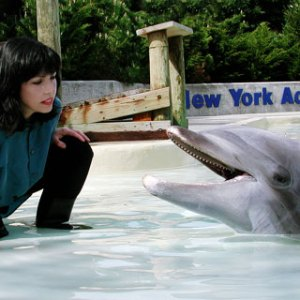 Professor Reiss with the dolphin that first showed her self-awareness in a mirror