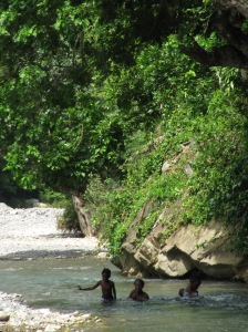 Bathing in the river: Trinityville, St. Thomas