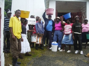 Residents of John's Town in St. Thomas demonstrate for water