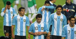 Argentine team after a goalless draw against Colombia