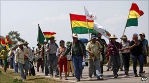 Protesters against the Bolivian highway