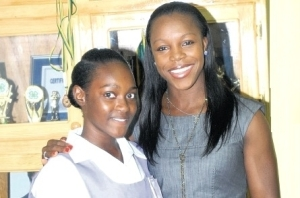 Veronica Campbell Brown and a scholarship winner