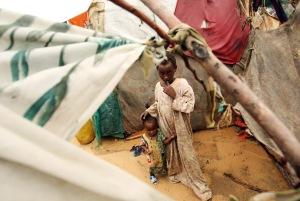 Internally displaced children in a makeshift camp outside Mogadishu, Somalia, 2009