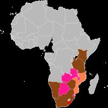 The range of the Black Rhinoceros