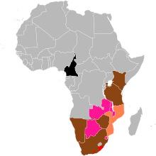 The range of the Black Rhinoceros