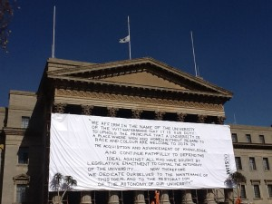 Sign erected at University of Witwatersrand by students on Tobias' death