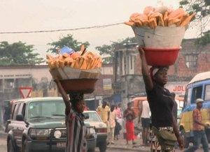 Women carrying bread in Kinshasa