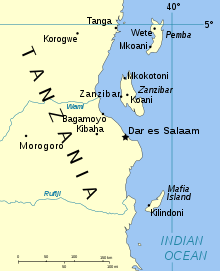 Map showing the Spice Islands and the coast of Tanzania.