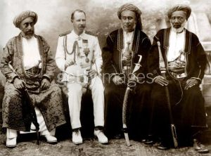 British colonial official with Arab rulers in Zanzibar