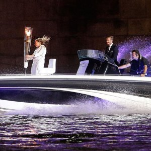 David Beckham Driving Olympic Torch Boat Opening Ceremony