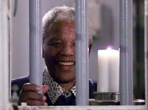 Nelson Mandela in his old prison cell