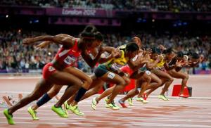 Women's 100 meters start in London