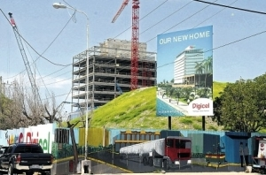 The new Digicel building under construction in downtown Kingston