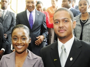 Jamaican Rhodes Scholar Vincent Taylor and runner-up Dr. Katherine Innis