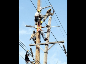 JPS workers restoring light on a pole