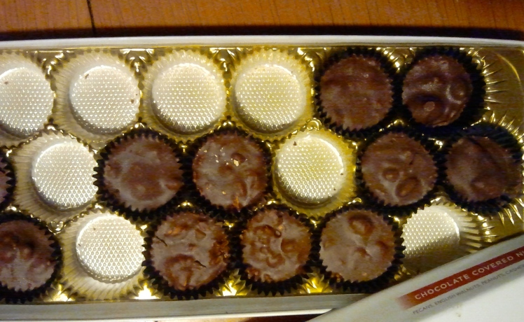 The box of chocolates has taken a bashing in the past day or two...