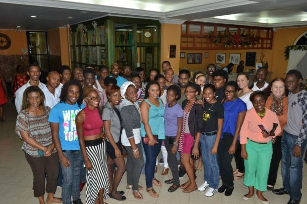 Jamaican bloggers unite! The happy group poses in the lobby of the Knutsford Court Hotel.