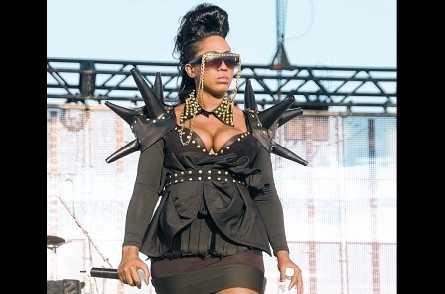 """An """"artiste"""" named Spice turned up ready to put her opponent, Macka Diamond, firmly in her place - but as you can tell from the look on her face she was disappointed. She reportedly stormed off stage. Note the 1980s-Madonna-like epaulettes!"""