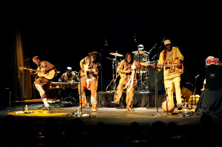 Habib Koite (second left) and Bamada in concert.