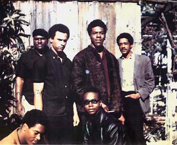The original six Black Panthers in Oakland, California in 1966. A huge influence on LKJ.