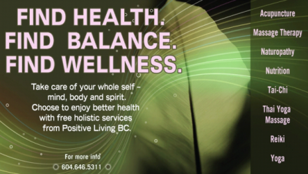 Wellness services offered by the Positive Living Society of British Columbia.