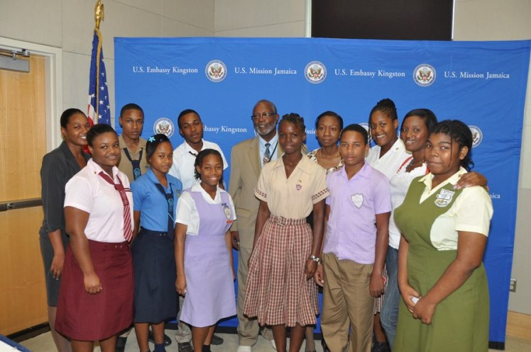 Jamaica's Youth Ambassadors pose for their photo with Deputy Chief of Mission at the U.S. Embassy Raymond Brown. (Photo: U.S. Embassy Kingston)