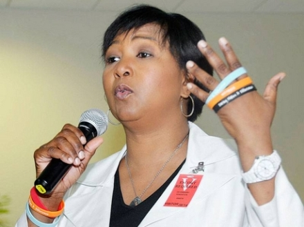 Dr. Mae Jemison speaking at the U.S. Embassy last week. (Photo: Ian Allen/Gleaner)