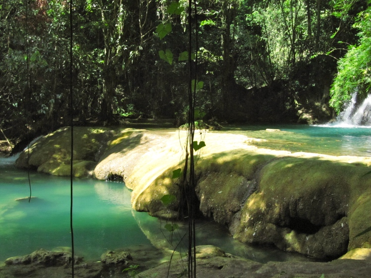 There are many deep bathing pools. And yes, the water really IS that color... in all the photographs.