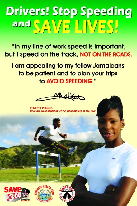 One of the National Road Safety Council's posters featuring athlete Melaine Walker.
