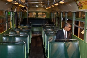 President Barack Obama sits on the famed Rosa Parks bus at the Henry Ford Museum, April 18, 2012. (Official White House photograph)