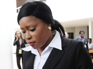 Ms. Shanique Myrie arrives at the Caribbean Court of Justice hearing in Kingston. (Photo: Gleaner)