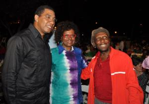 """Opposition Leader Andrew Holness, U.S. Ambassador to Jamaica Pamela Bridgewater and reggae singer Jimmy Cliff at last week's """"Blues on the Green"""" concert organized by the U.S. Embassy. (Photo: U.S. Embassy Facebook page)"""