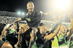 Calabar High School celebrates wildly at the National Stadium. (Photo: Garfield Robinson/Jamaica Observer)
