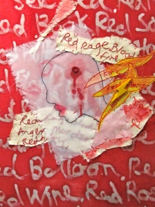 """Margaret Stanley's """"Bad Red"""" includes images of blood, rage and violence. (My photo)"""