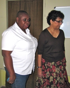 Executive Director of Eve for Life Ms. Patricia Watson (left) escorts Deputy Executive Director of UNICEF Ms. Geeta
