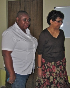 Eve for Life's Executive Director Patricia Watson welcomes Deputy Executive Director of Programmes at UNICEF Geeta Rao Gupta when she visited Eve's Kingston offices recently. (My photo)