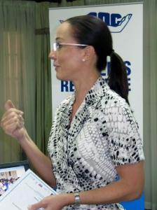 Opposition Senator Kamina Johnson Smith speaks at a recent seminar. (My photo)