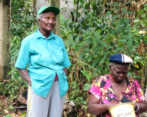 Ms. Joyce Manderson (left) and her companion, who was shelling annatto seeds - used for coloring and flavoring. The women of Trinityville play an active role in the greenhouse project. (My photo)