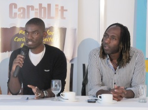 Jamaican writers Roland Watson-Grant (left) and Kei Miller at a Kingston BookFest workshop. (My photo)