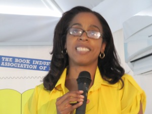 Ms. Kellie Magnus, organizer of Kingston BookFest, at a publishing workshop at the Spanish Court Hotel in Kingston last week. (My photo)