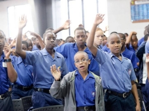 """The first- and second-grade students of the traditional Kingston high school for boys Jamaica College recently took time off from their studies to engage in a """"Gospel Crusade."""" (Photo: Ian Allen/Gleaner)"""