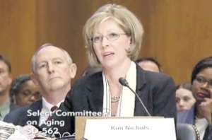 Kim Nichols, the daughter of a victim of the lottery scam, testifies before theUS Congressional Special Committee on Aging. (Photo: Gleaner website)