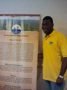 I met Andrew from the Environmental Foundation of Jamaica at their booth. (My photo)