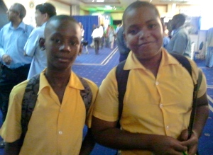 I met Shemore (left) and Phillip from Greater Portmore Primary School - two budding scientists. (My photo)