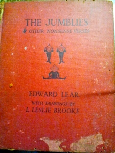 "My battered old copy of ""The Jumblies"" - nonsense poems by Edward Lear."